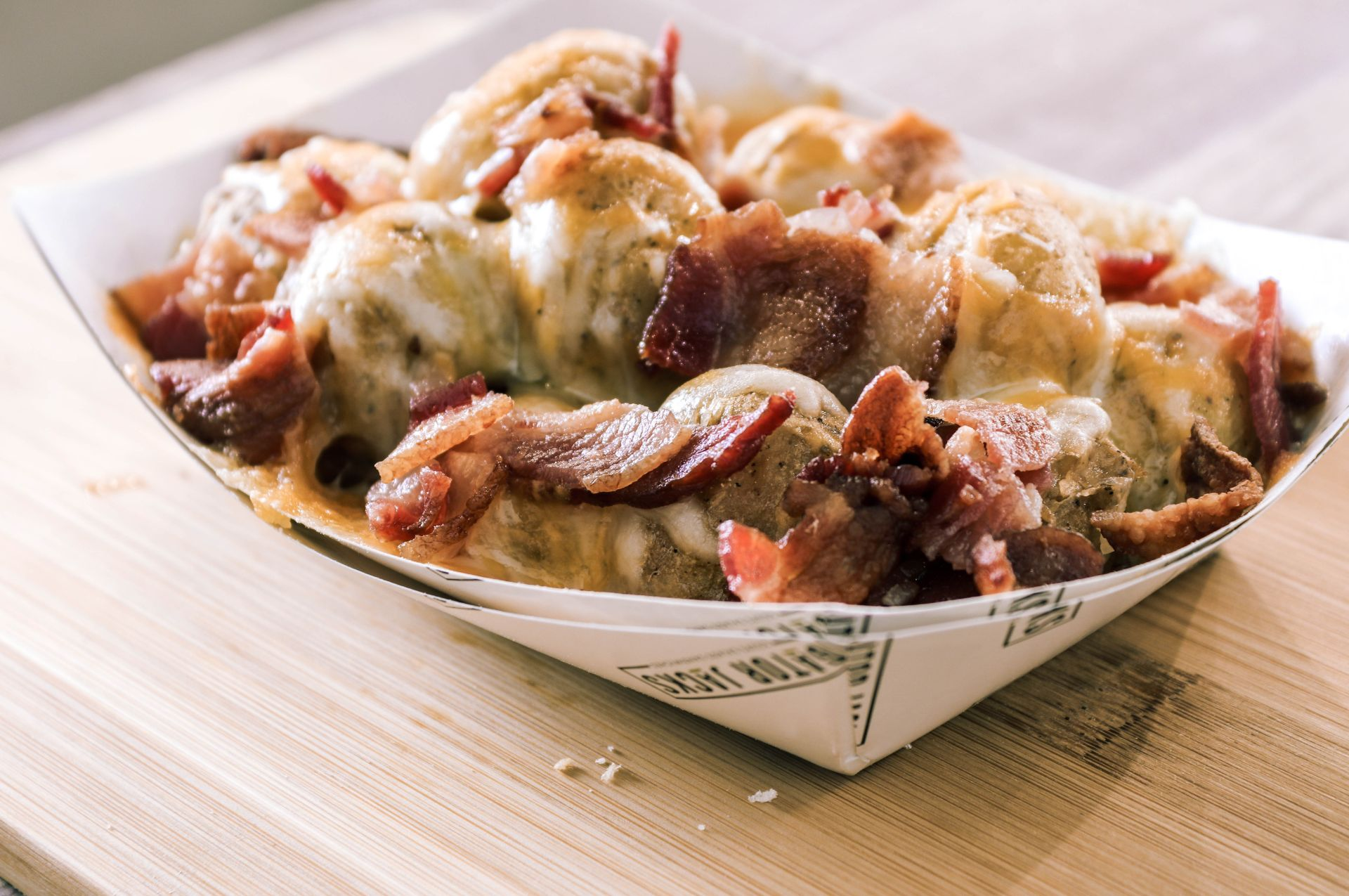 Loaded gator bites with bacon and cheese