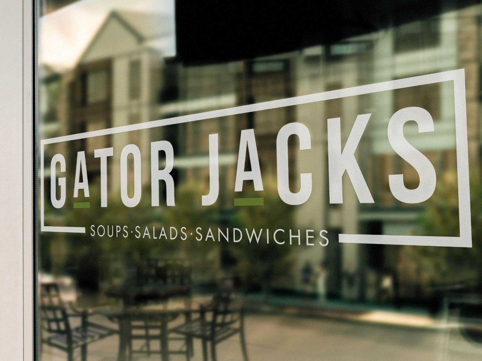 Gator Jacks logo on a window