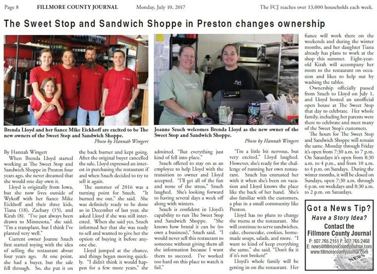 article about the the sweet stop and sandwich shop when they first gained ownership