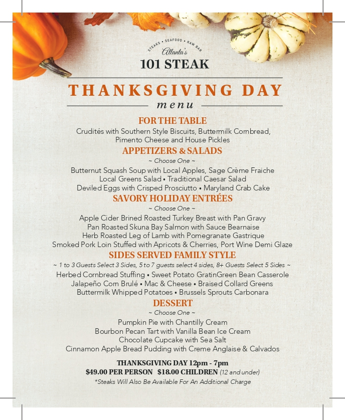101 Steak Thanksgiving Day Menu
