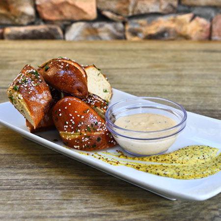 pretzel bites with dipping sauce