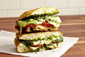 panini with pesto, mozzarella cheese, and tomato
