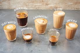 assortment of coffee drinks