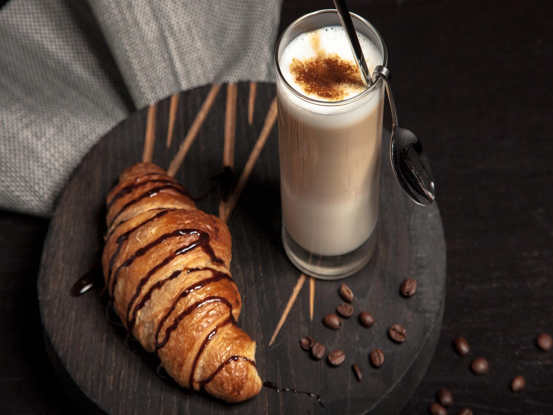 coffee and a chocolate croissant