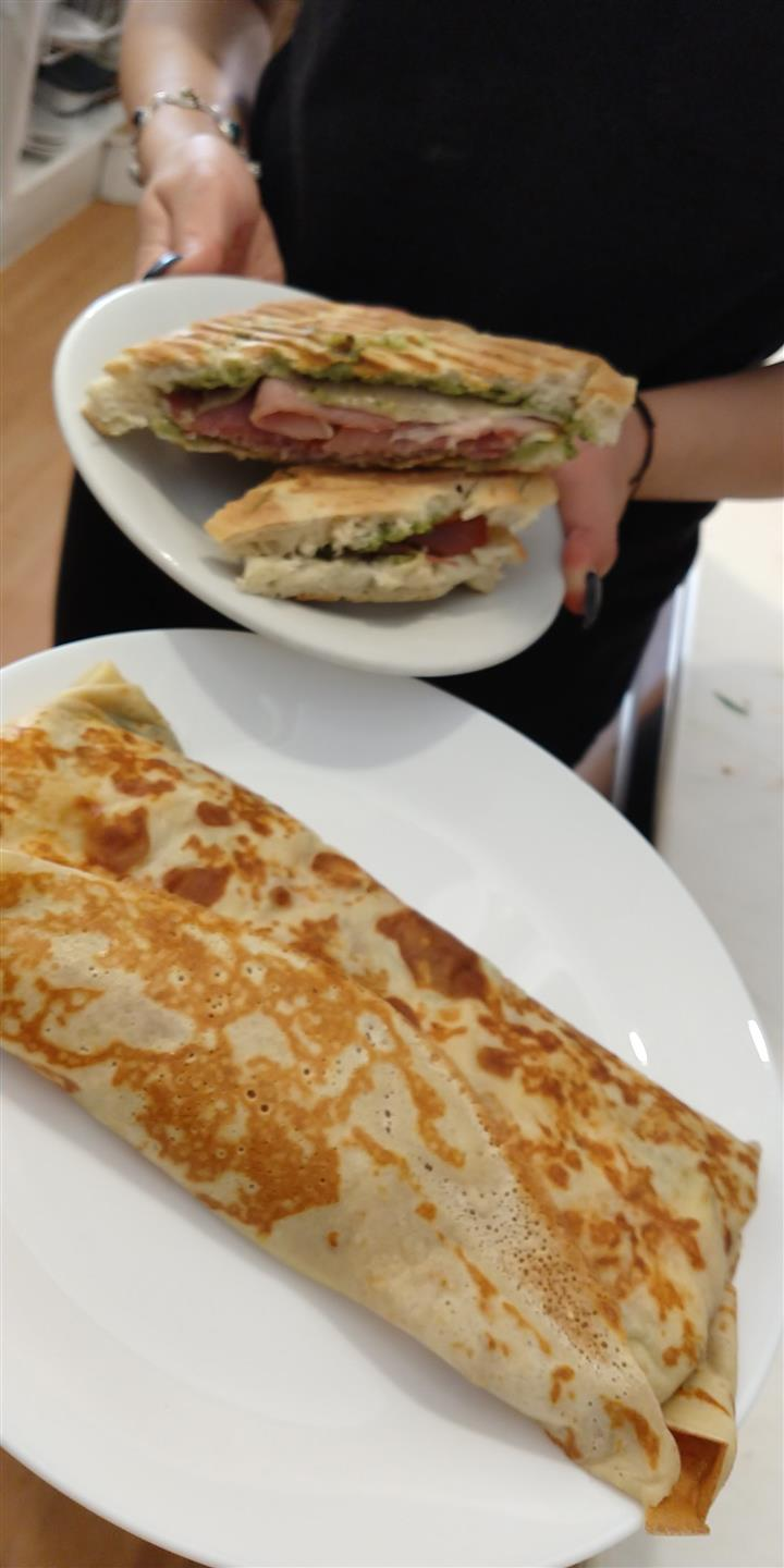 panini and crepe on plates