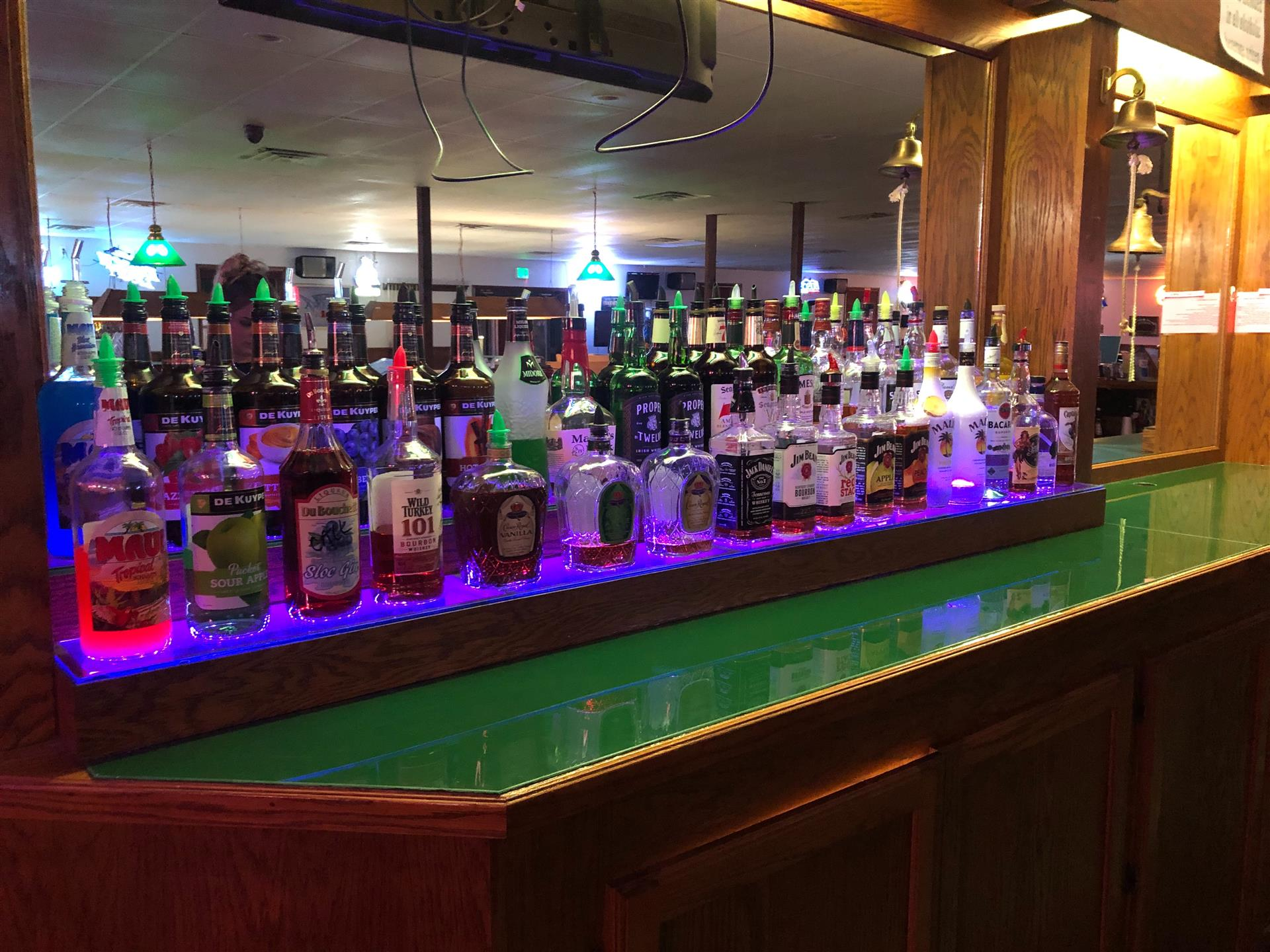 bar with various alcoholic drinks