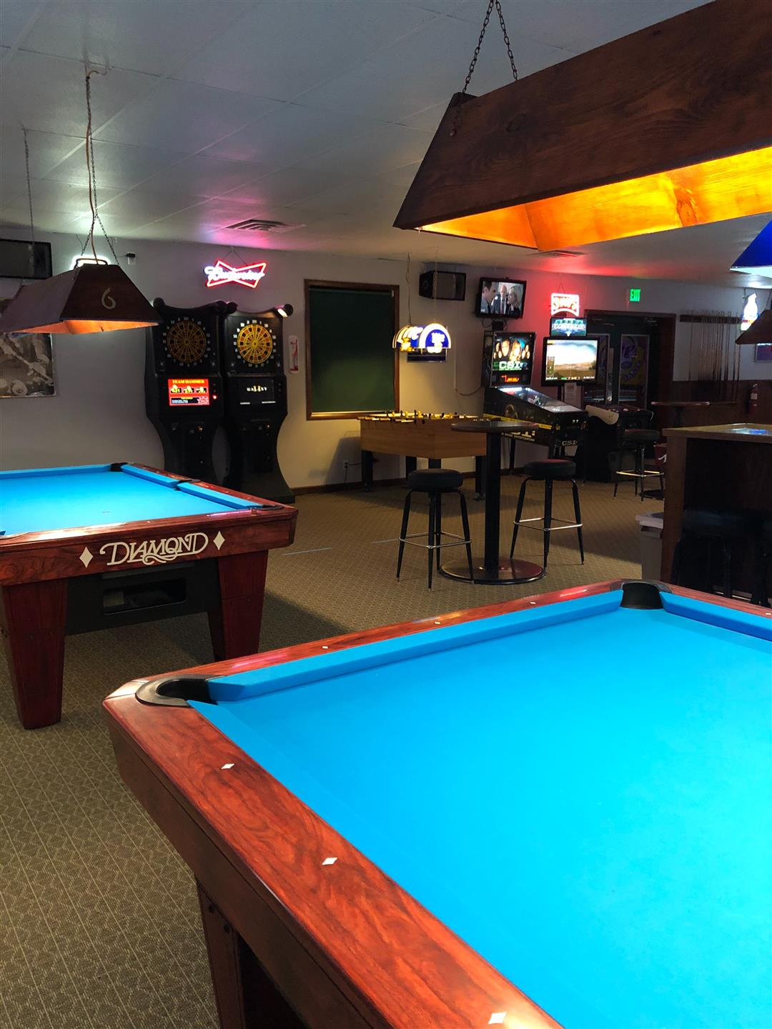 interior view of business with pool tables and lights up above