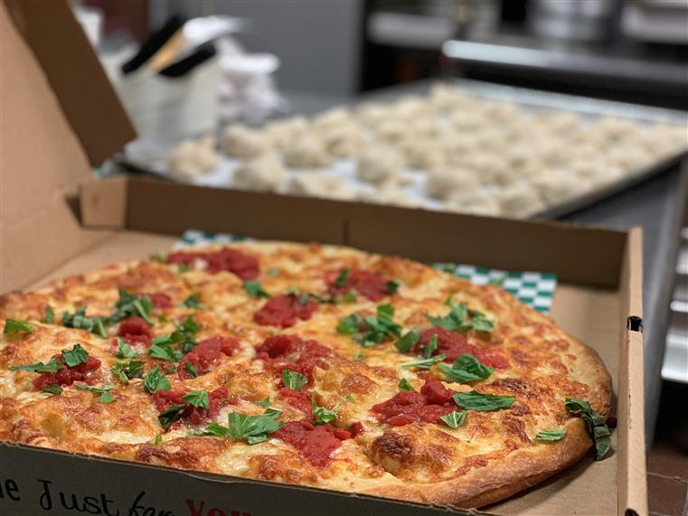 Margherita pizza in a box