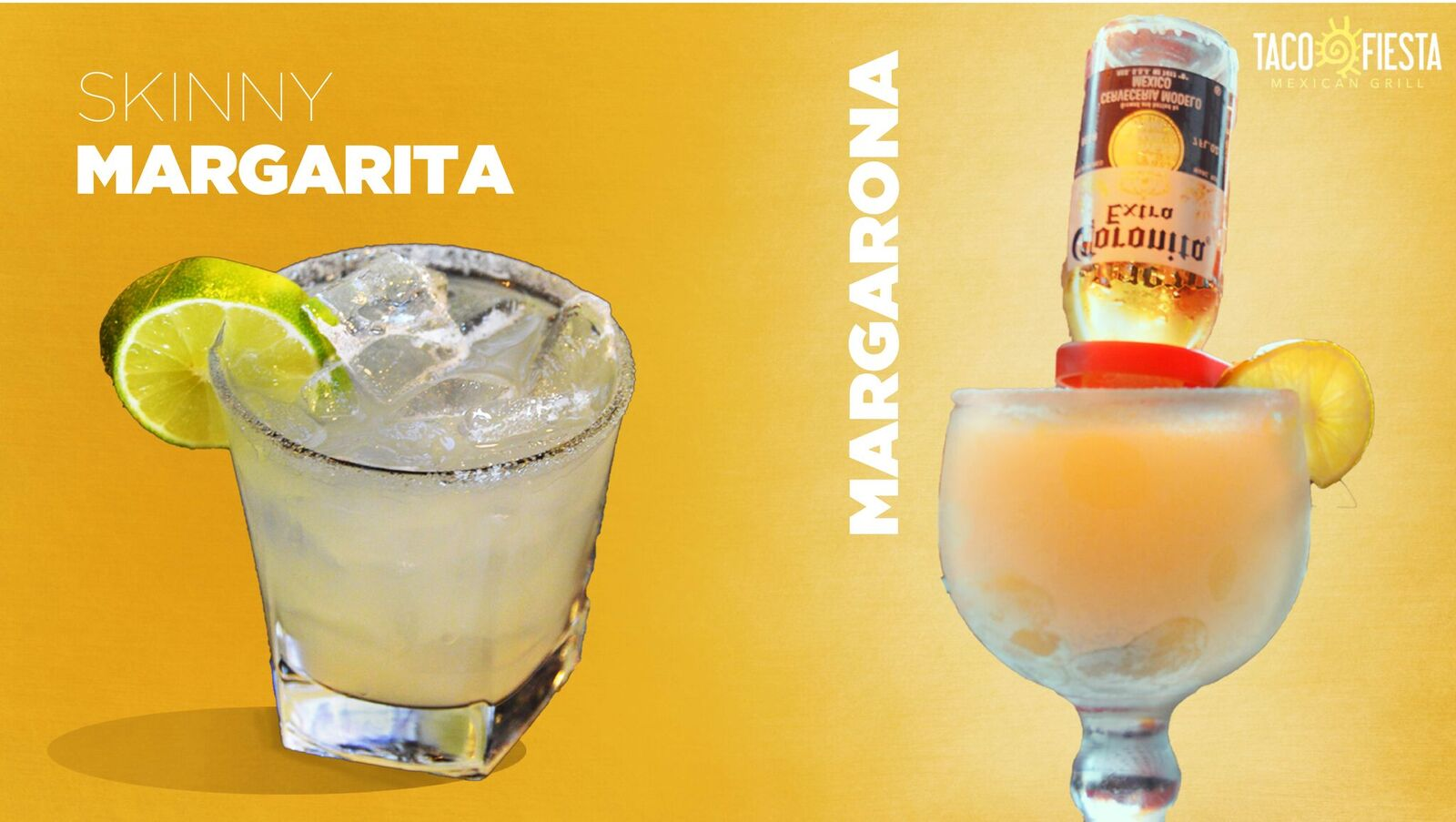 picture of a skinny margarita and a margarona