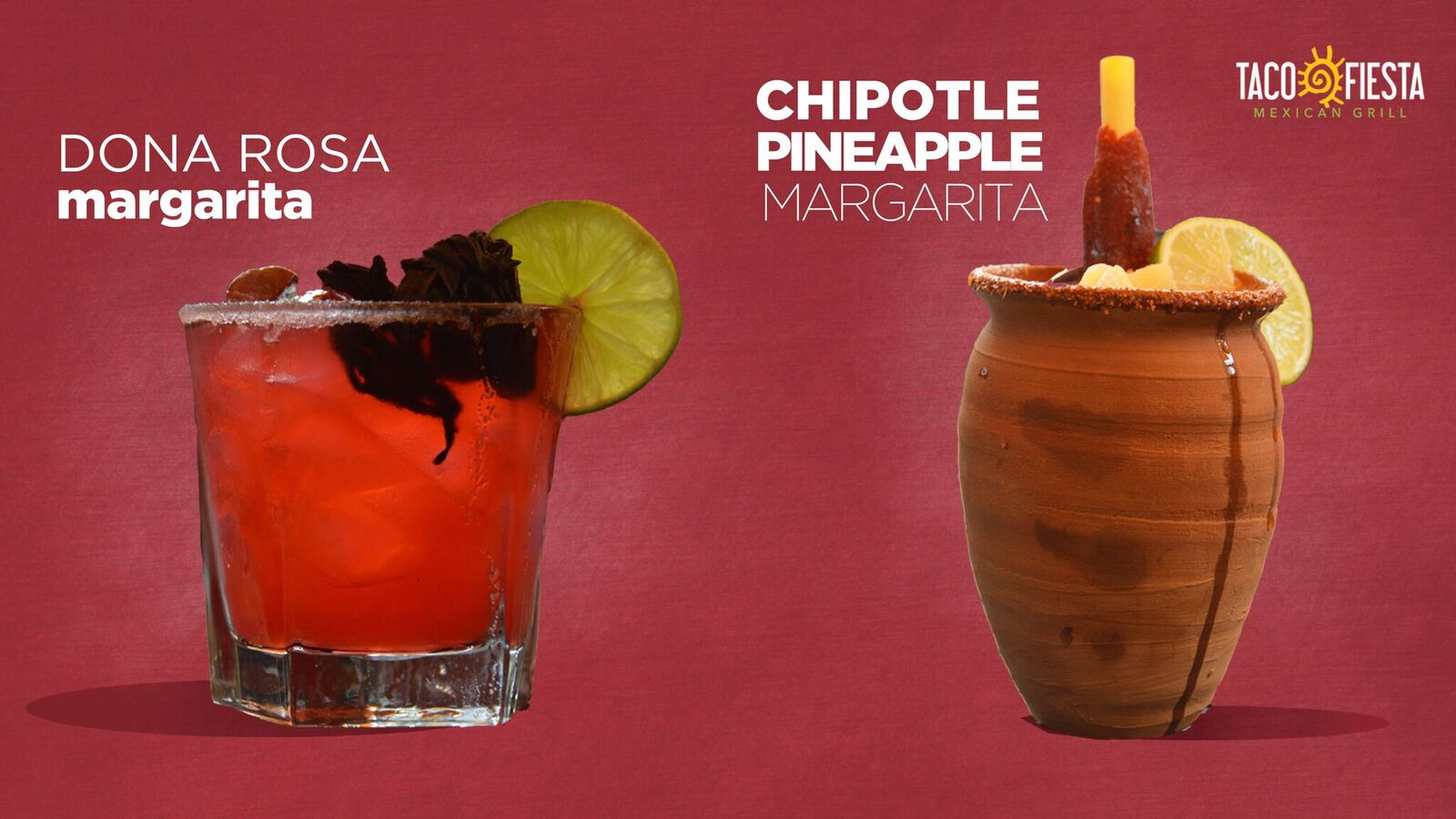 dona rosa margarita and chipotle pineapple margarita on a pink background