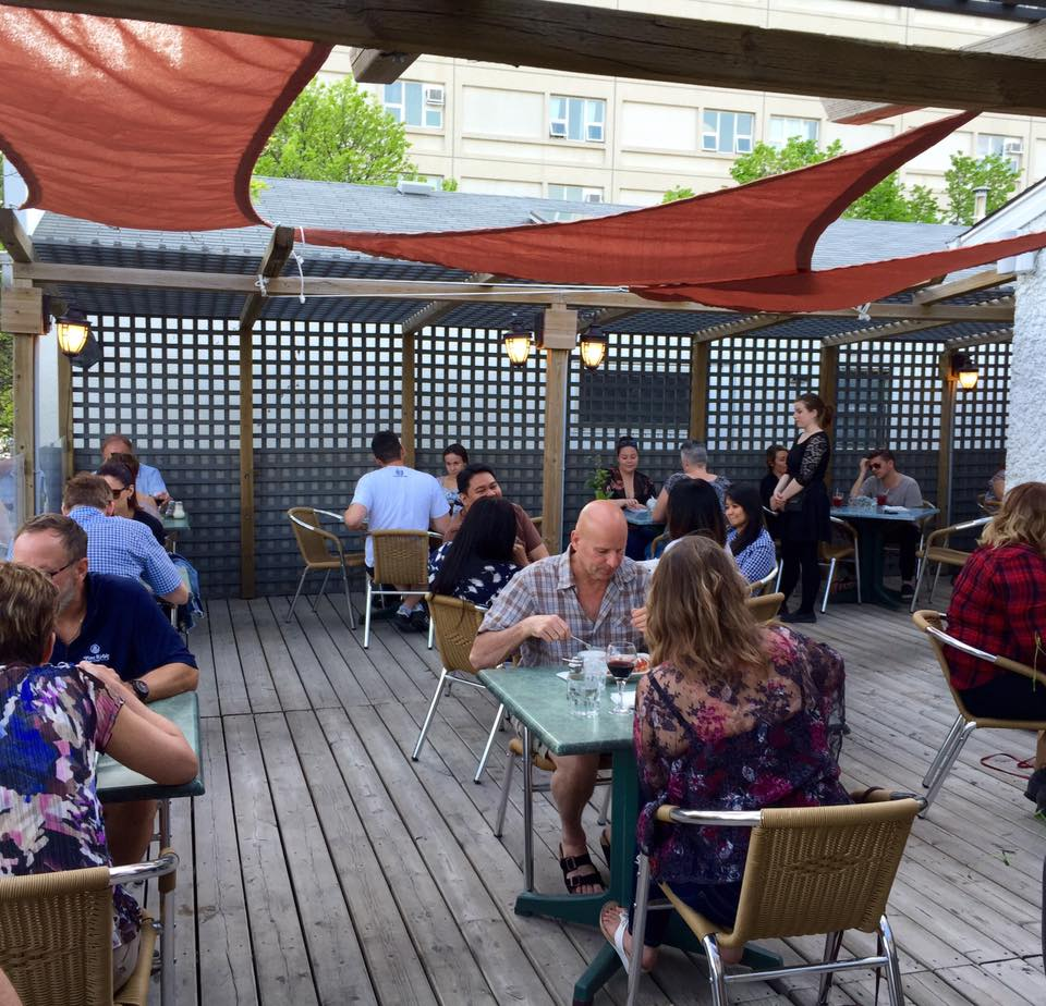 outside patio with customers eating at tables