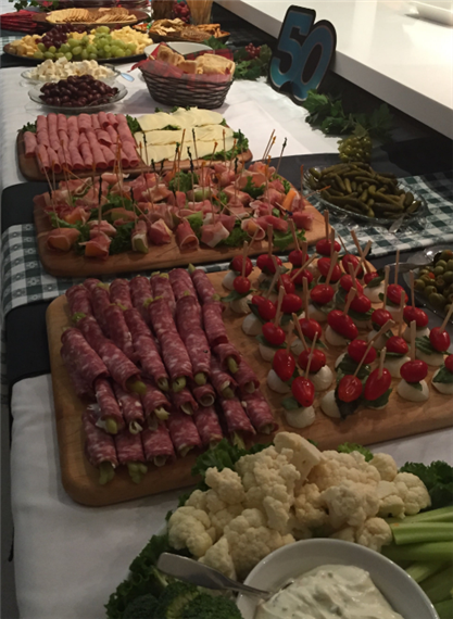 assortment of antipasto meats, cheese and vegetables