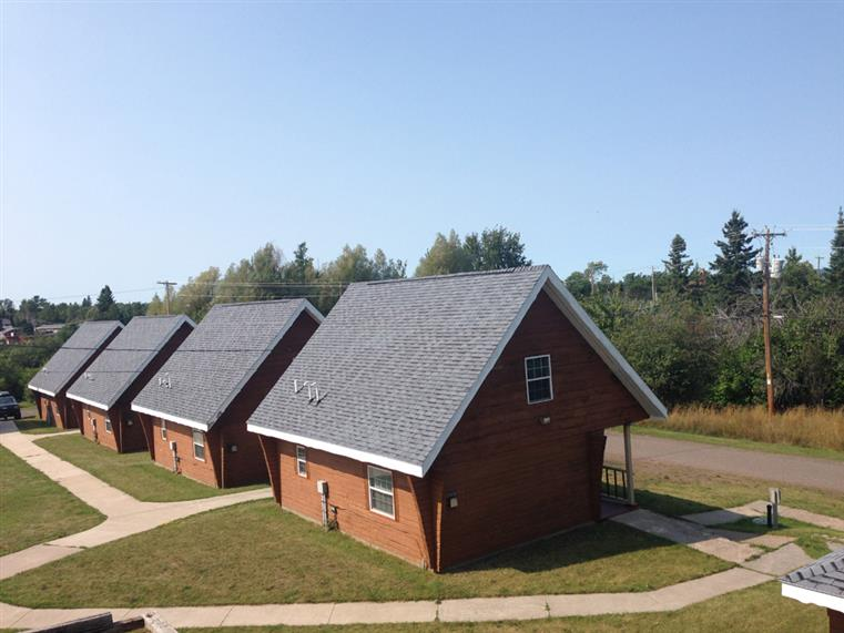 Exterior aerial view of cabins
