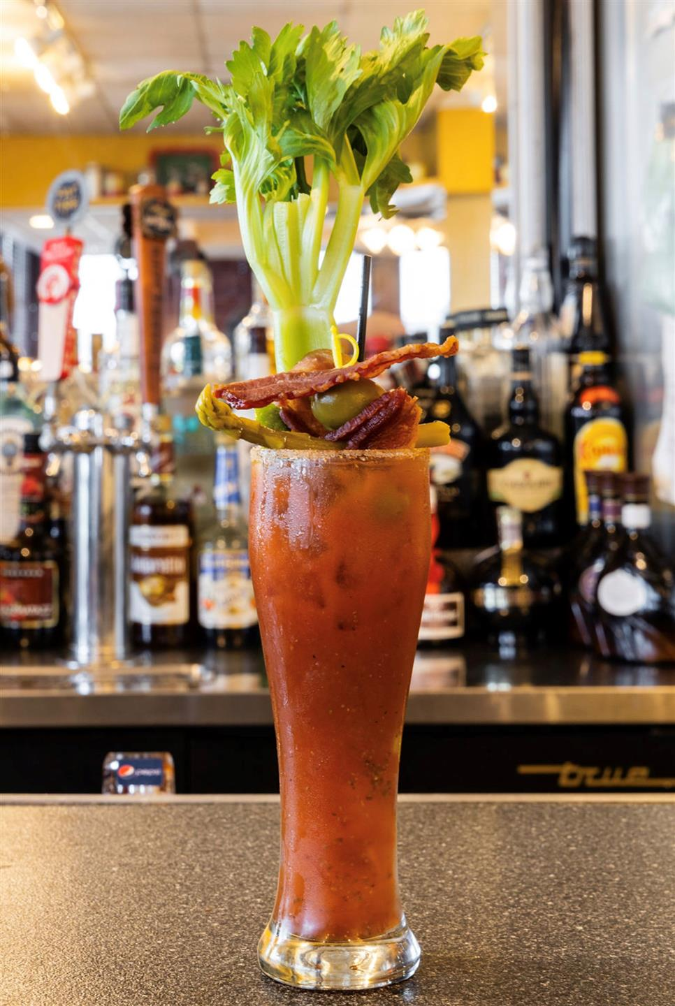 bloody mary with celery and bacon