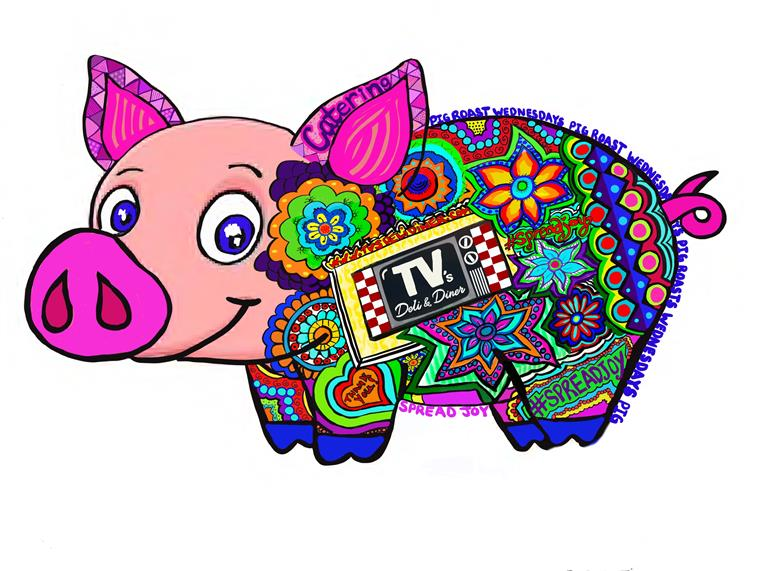 Pig graphic with Tv's Deli & Diner logo and Spread Joy text