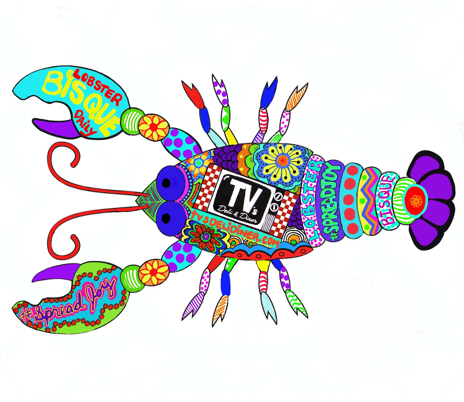 a multi colored lobster