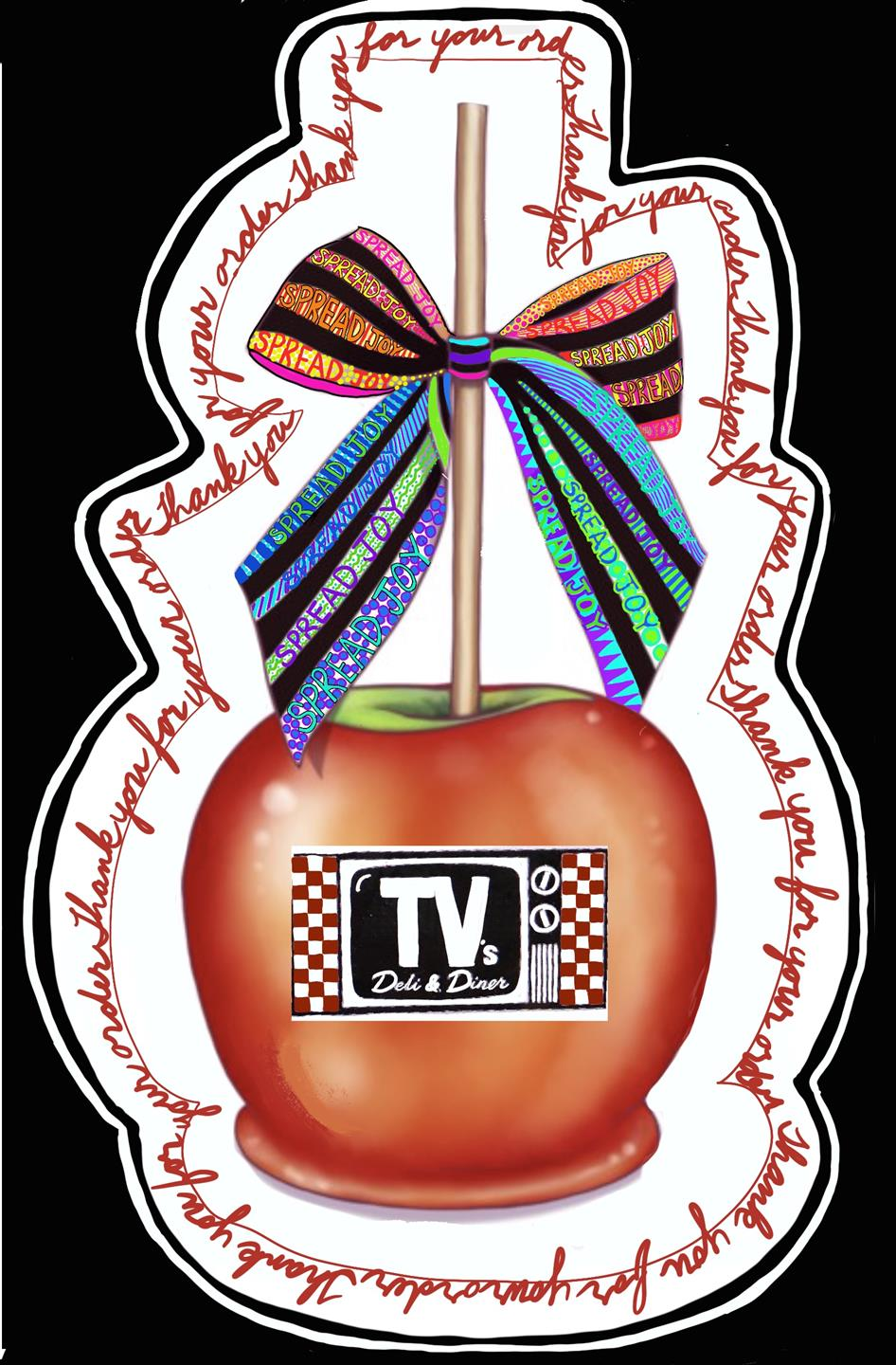 a caramel apple with tv stamped on it