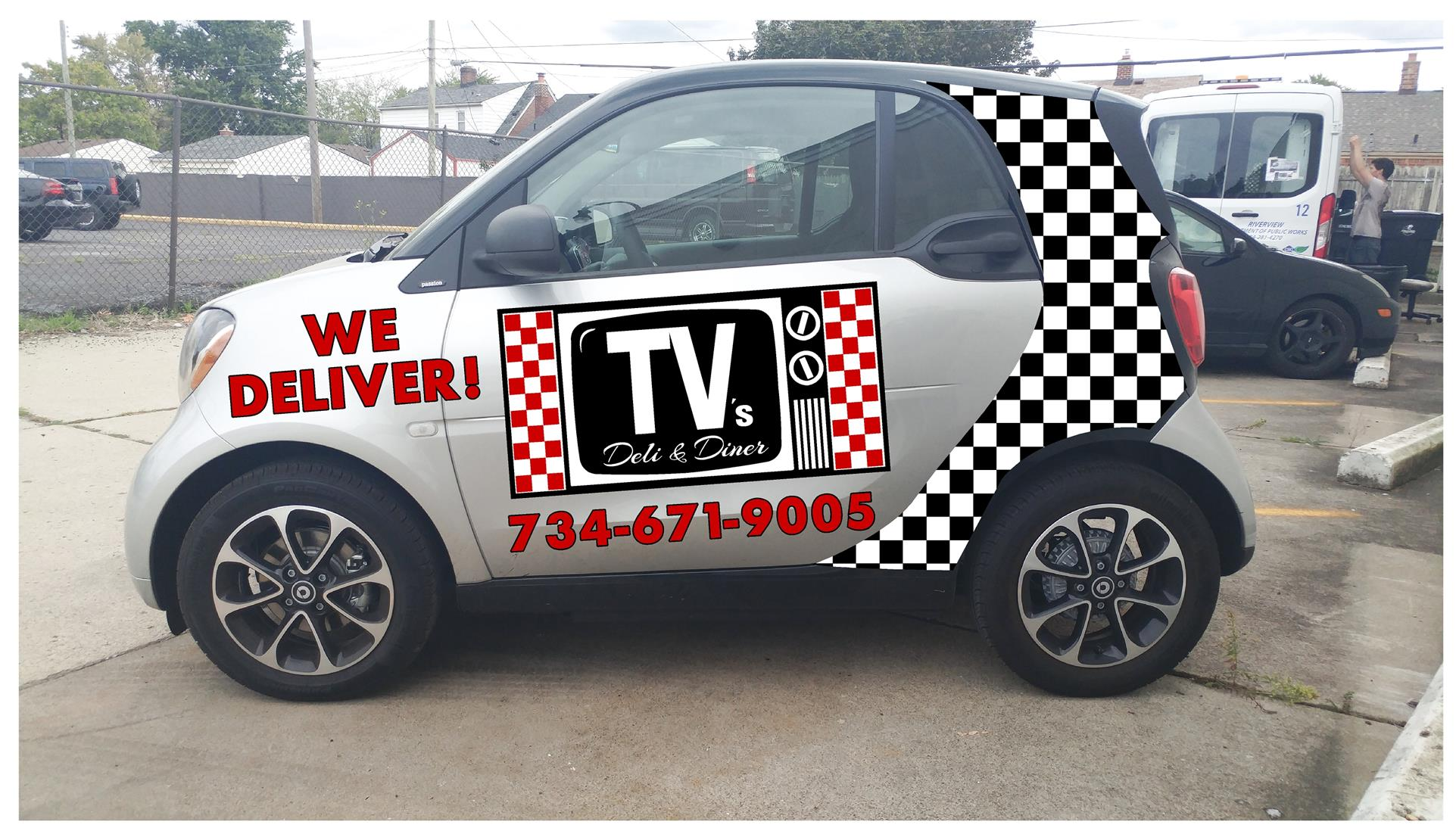 a car with a tv logo on it