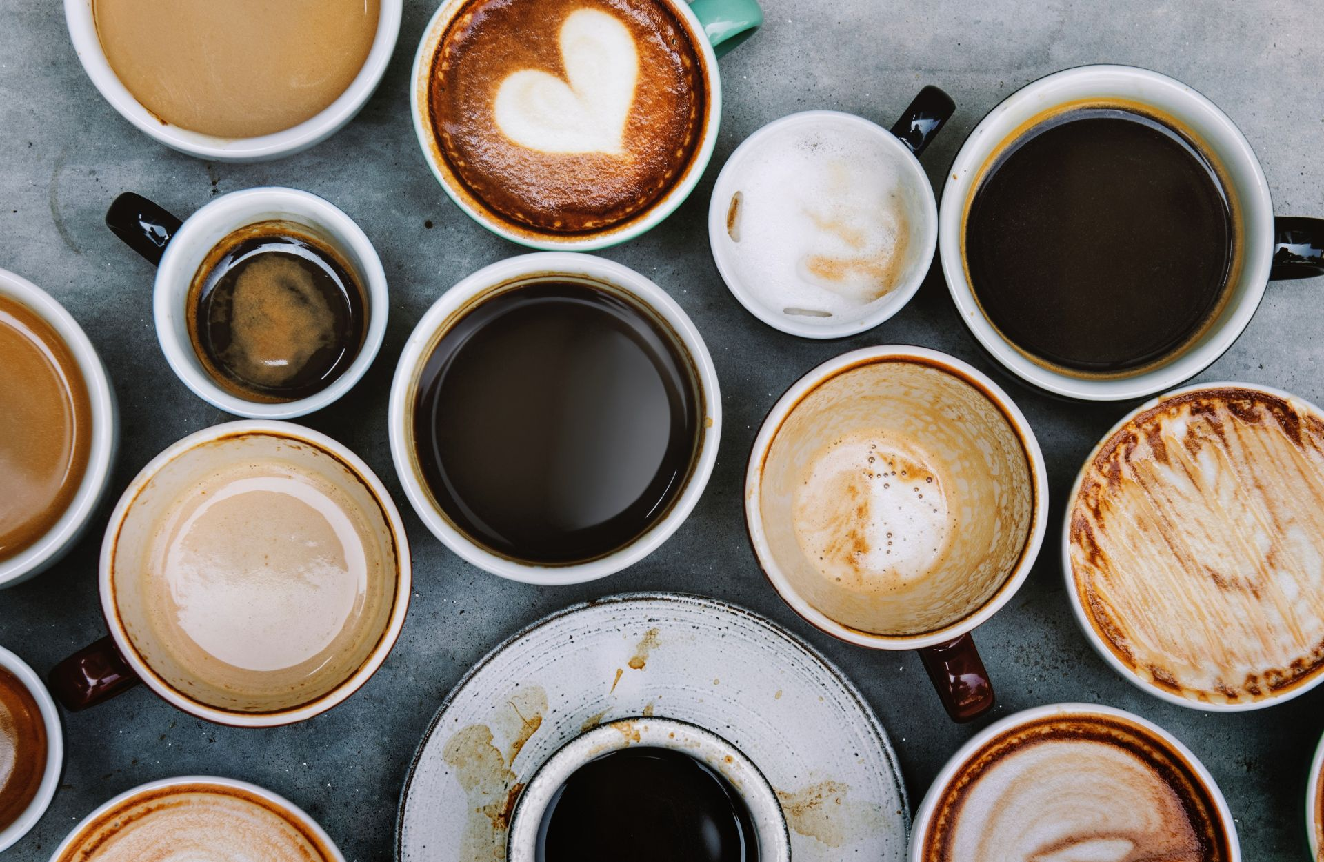 Assorted coffees in cups