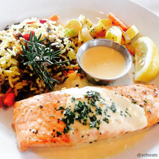 salmon with house vegetables and rice.