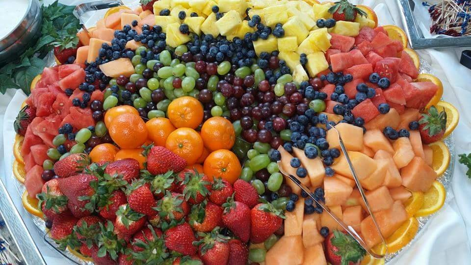 Platter with an assortment of fresh cut fruits