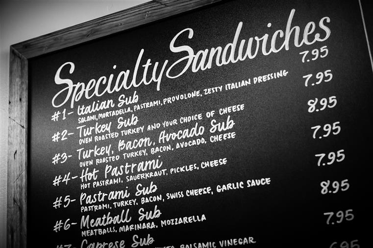 specialty sandwiches sign