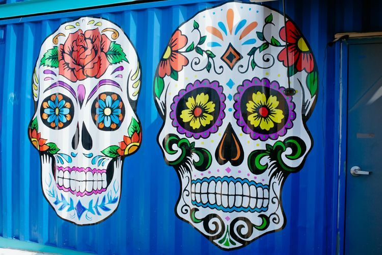 sugar skull mural on side of storage container wall