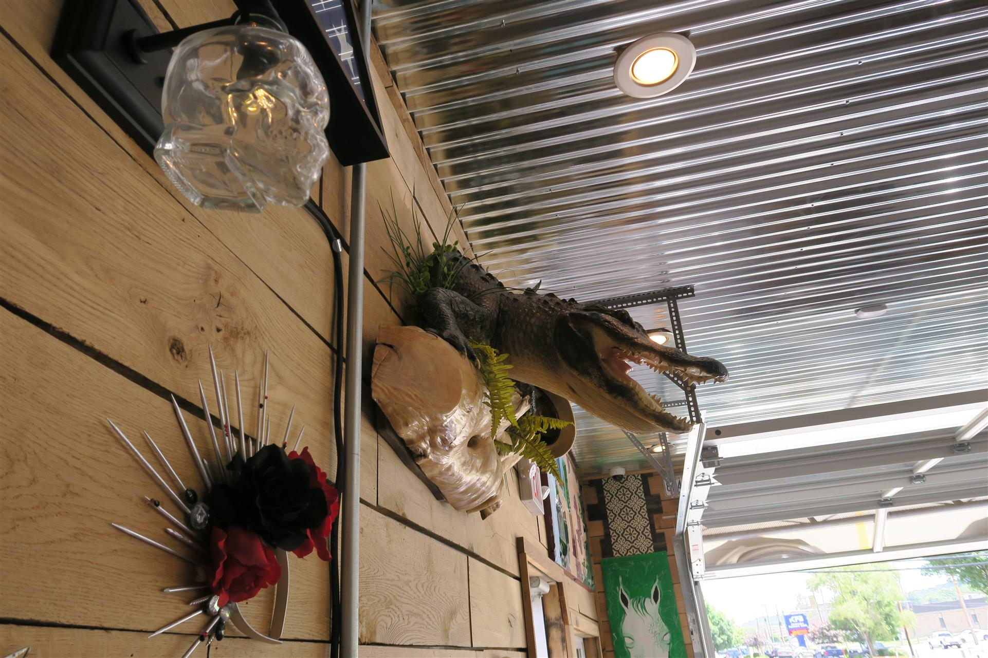 rustic decorations on wall with a crocodile head and a planter