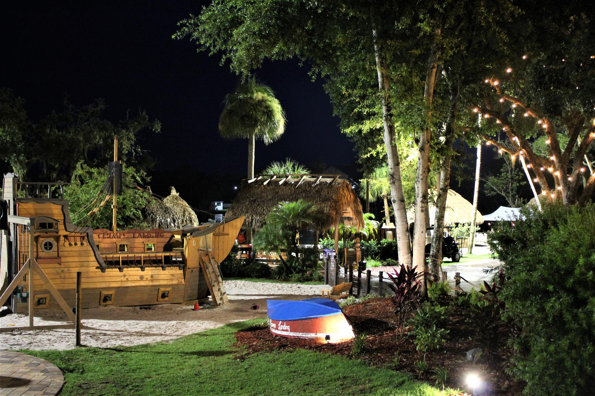 outside view of the main tiki hut at crumps landing