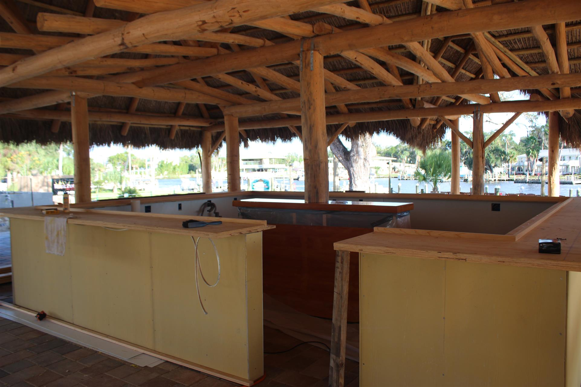 construction of a new tiki bar