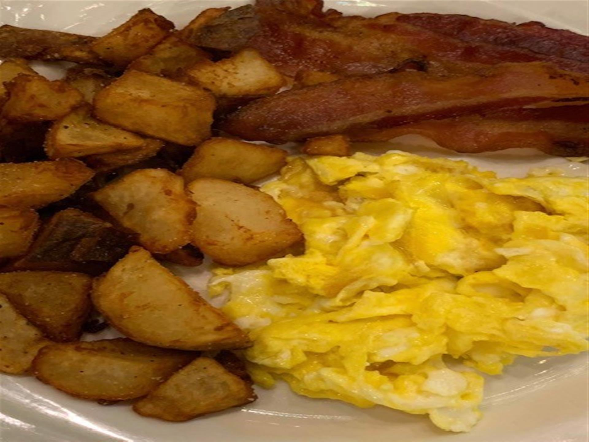 scrambled eggs and hash browns and