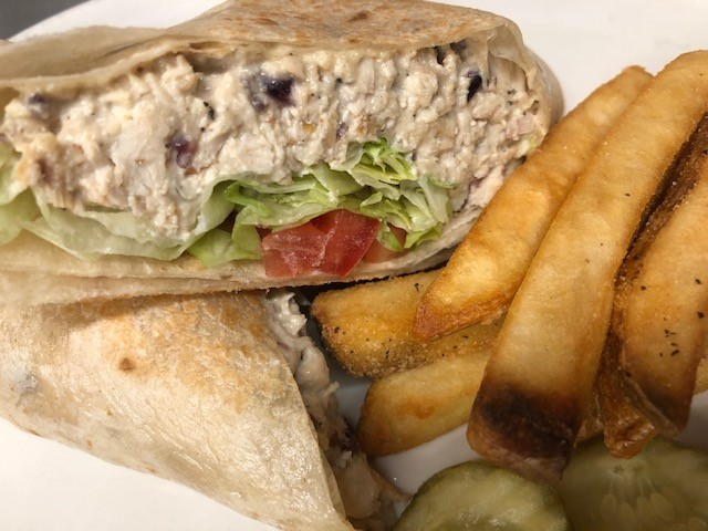 tuna salad wrap with fries