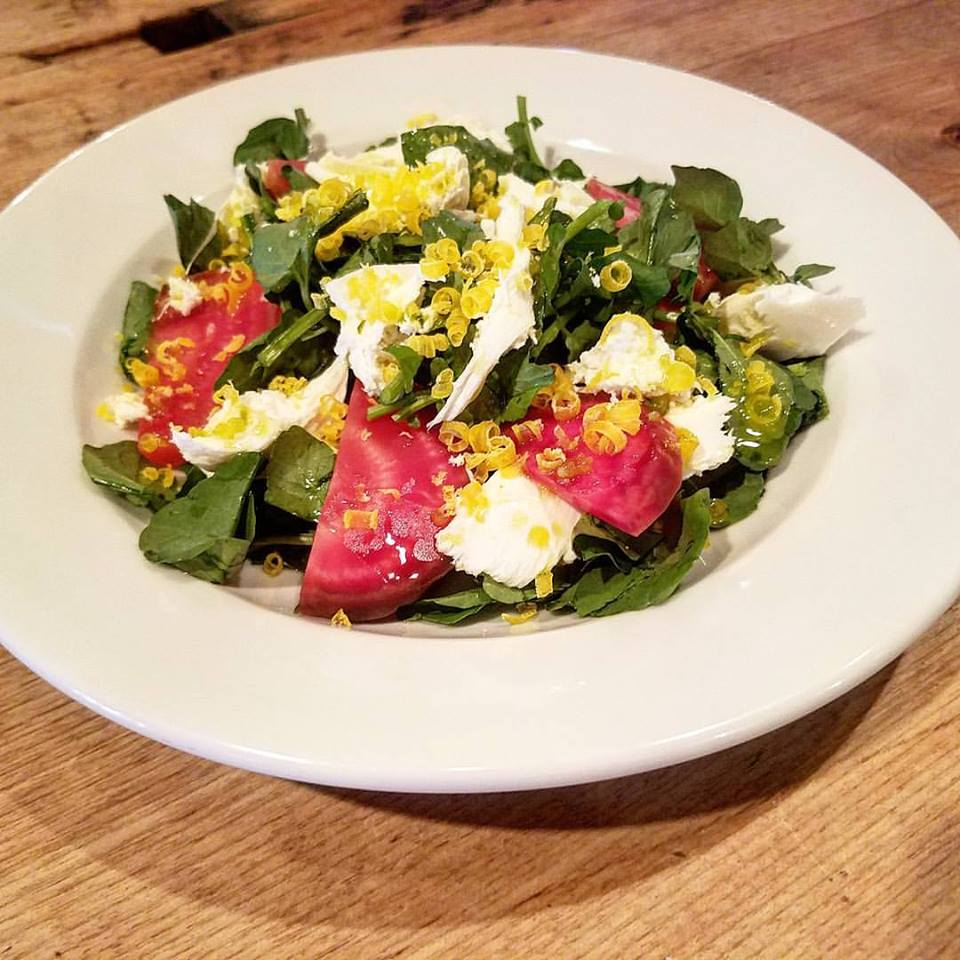 Roasted beet and Watercress salad fresh Maplebrook mozzarella fennel oil and salt-cured egg yolks