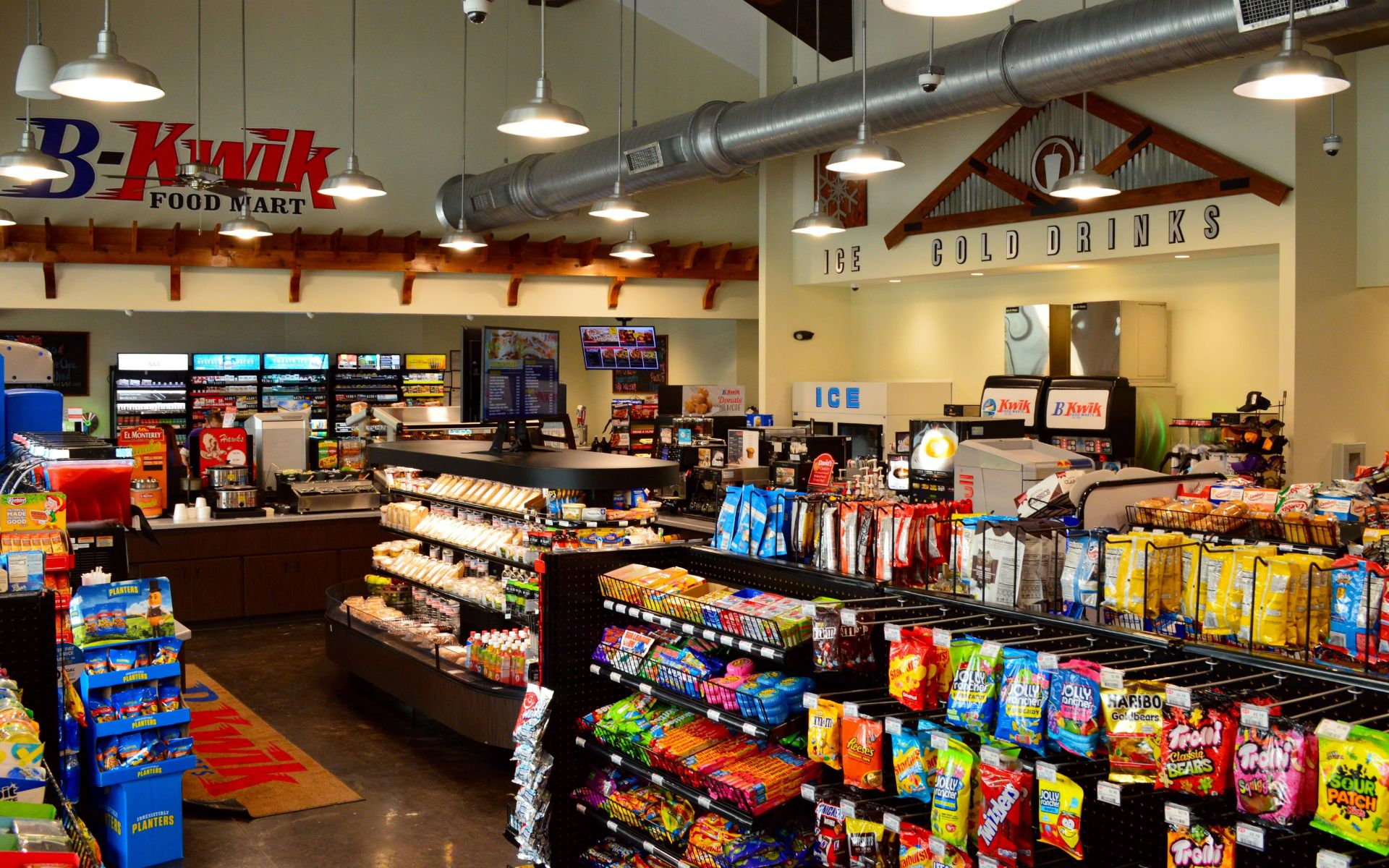 Interior of a convenience store with goods on shelves