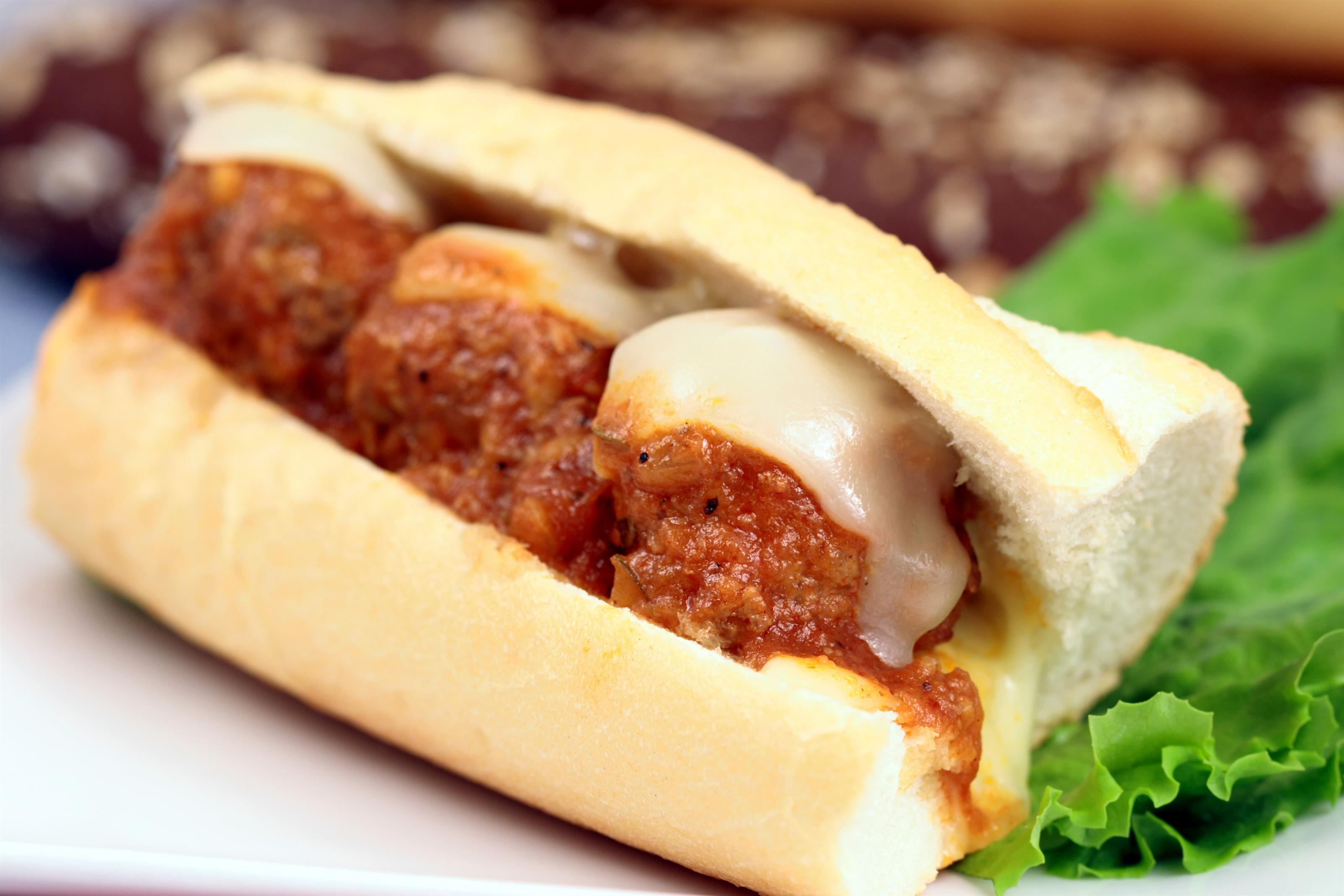 Meatball hero on a plate
