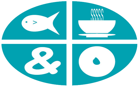 Illustration of a fish, coffee mug, &, and a bagel