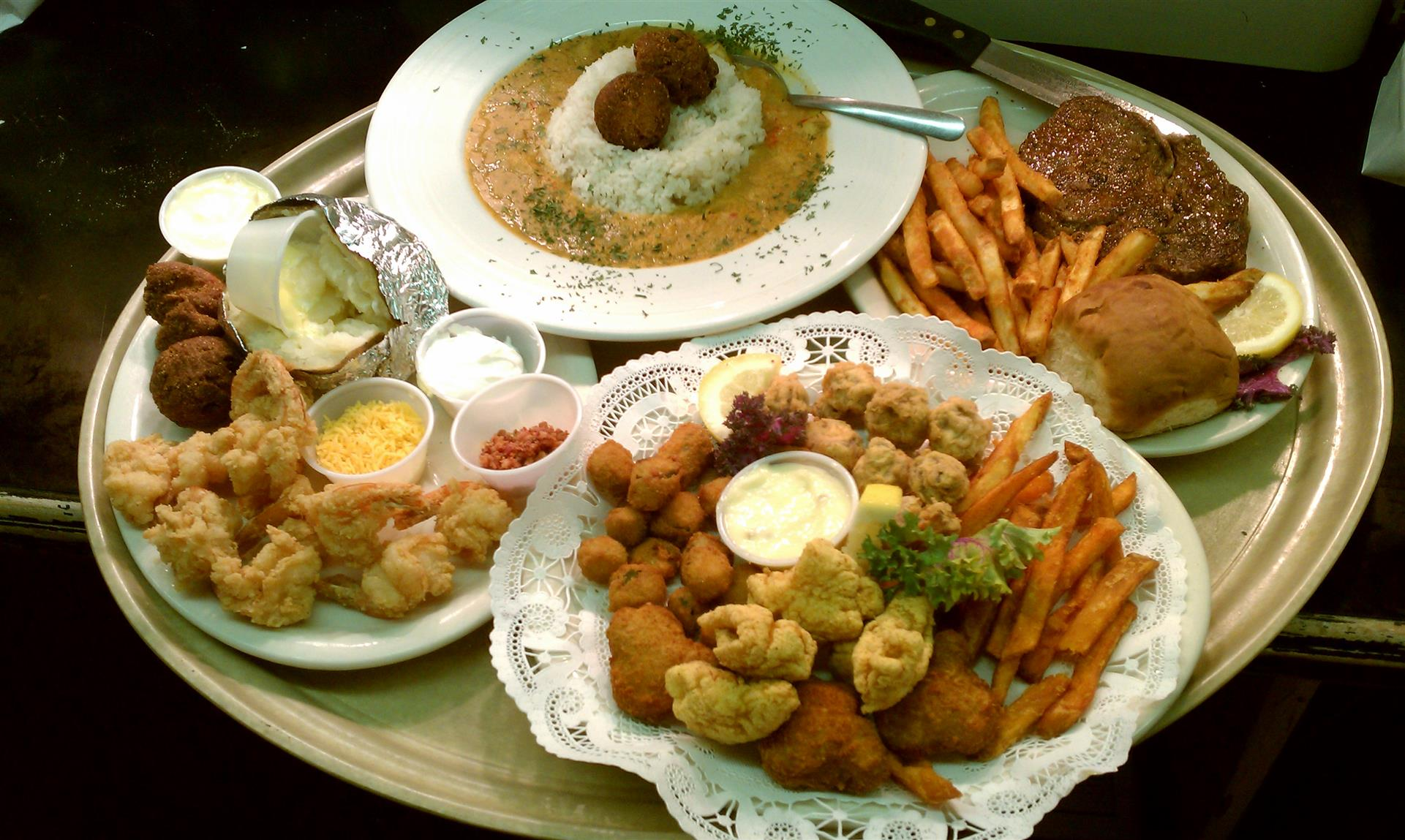 Etouffee Ribeye Fried Shrimp Bayou Sampler