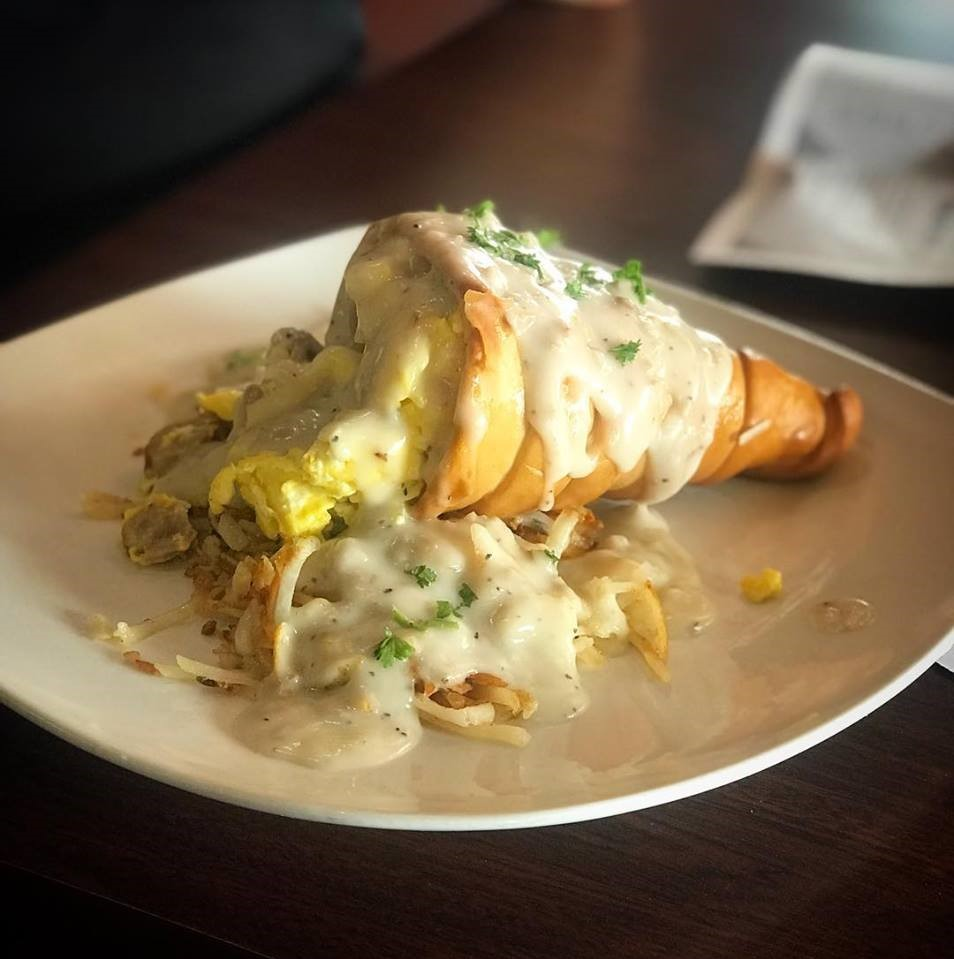 Country breakfast cone with eggs and gravy