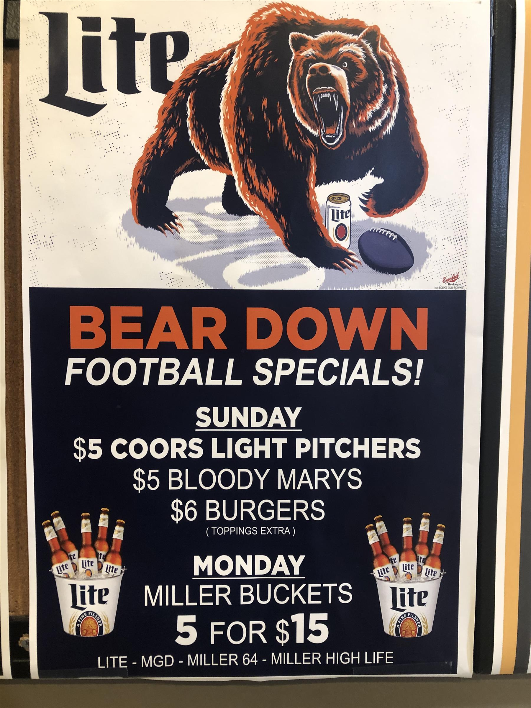 Bear Down football specials $5 coors light pitchers $5 bloody marys $6 burgers