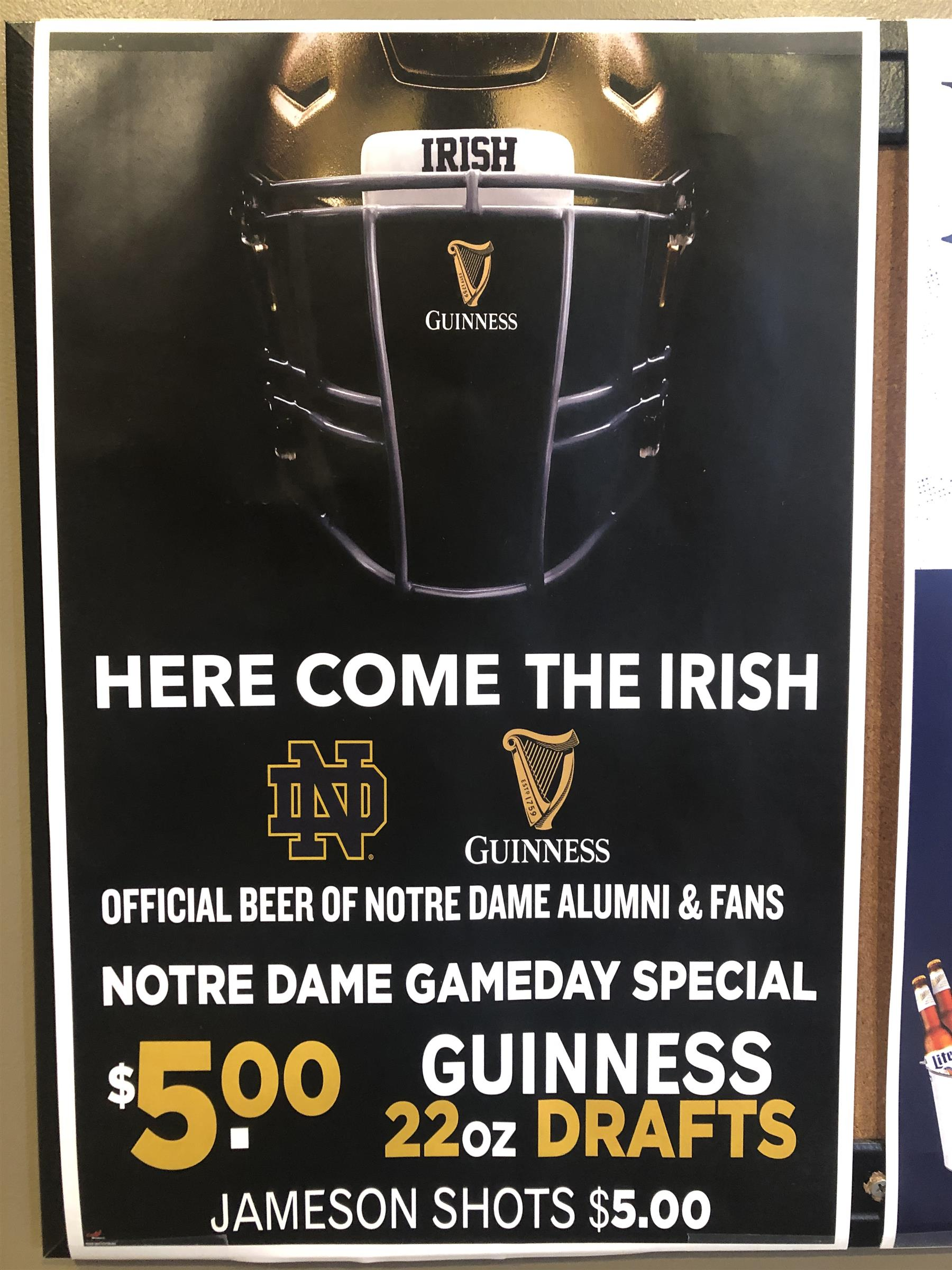notre dame gameday special $5 guinness 220z drafts jameson shots $5