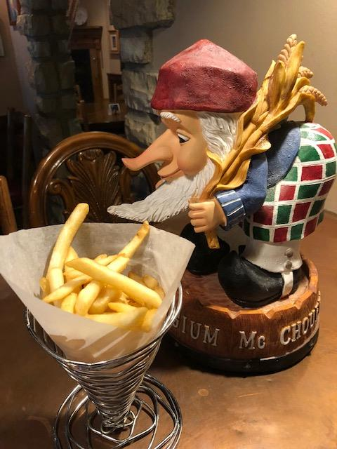 french gnome next to a side of fries