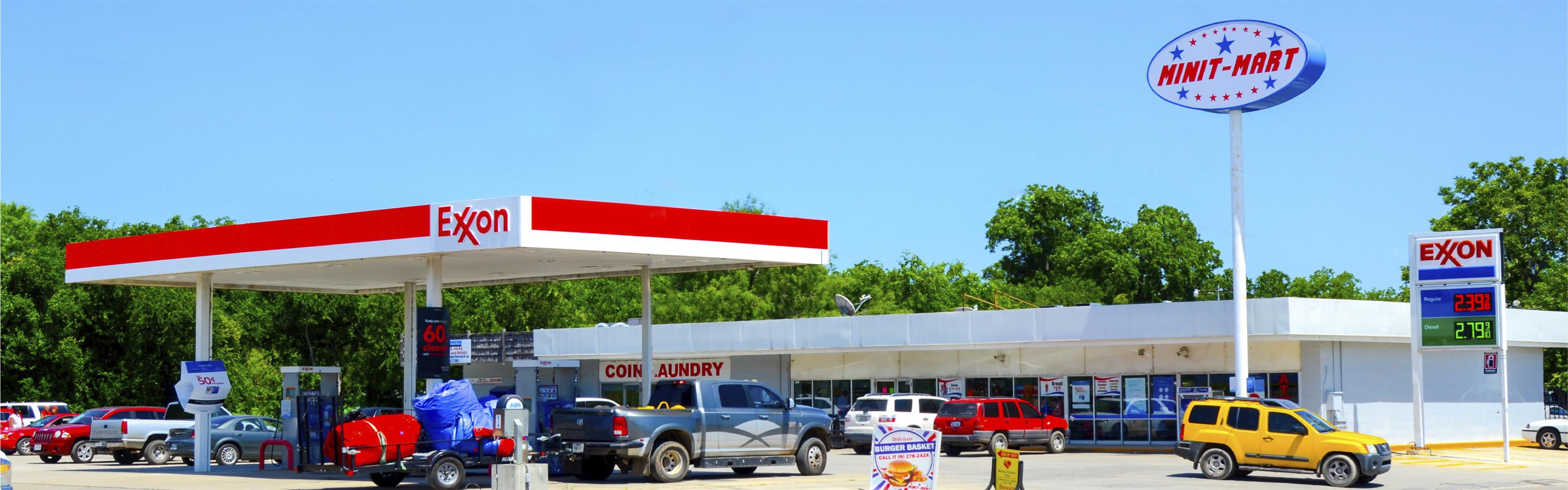 exxon gas station in front of the minit mart
