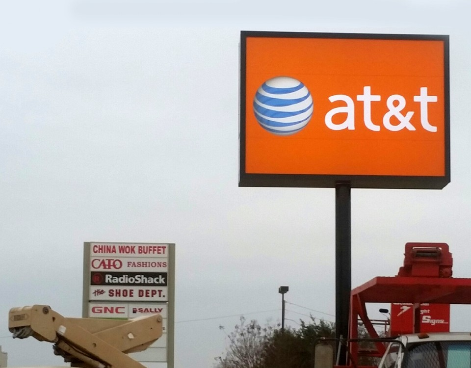 large signage outdoors for at&t