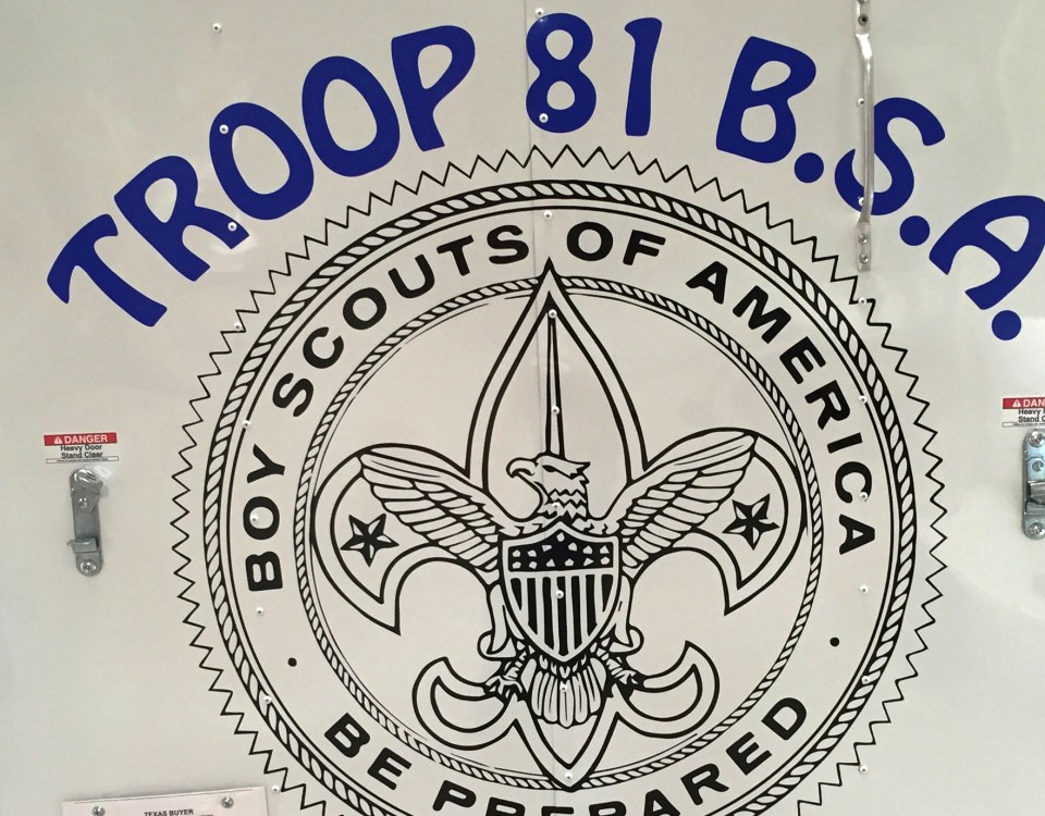 signage created for troop 81, boy scouts of america.
