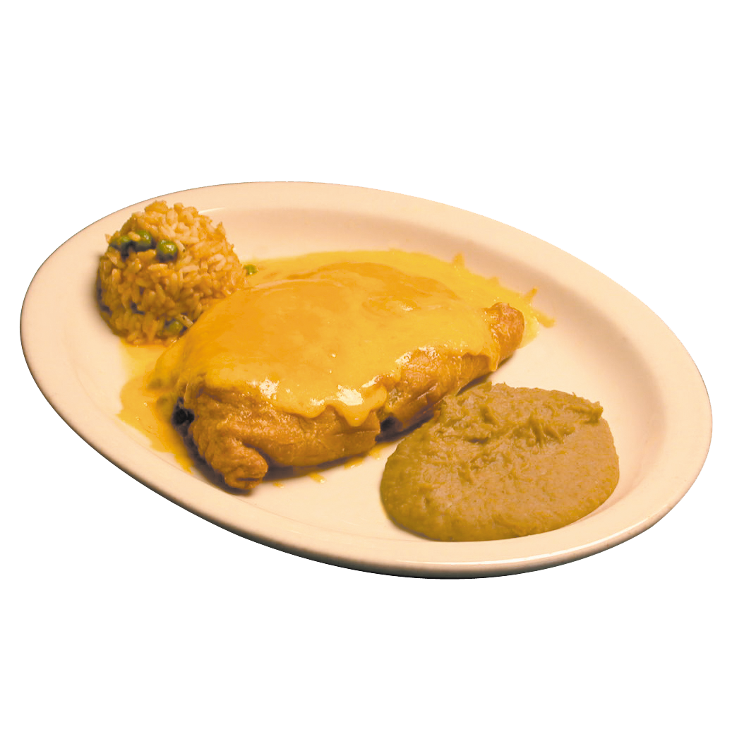 Cheese covered beef empanada with beans and rice
