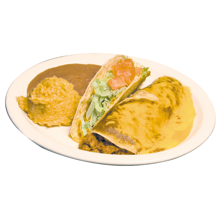 Beef taco and enchilada combo plate with rice and beans