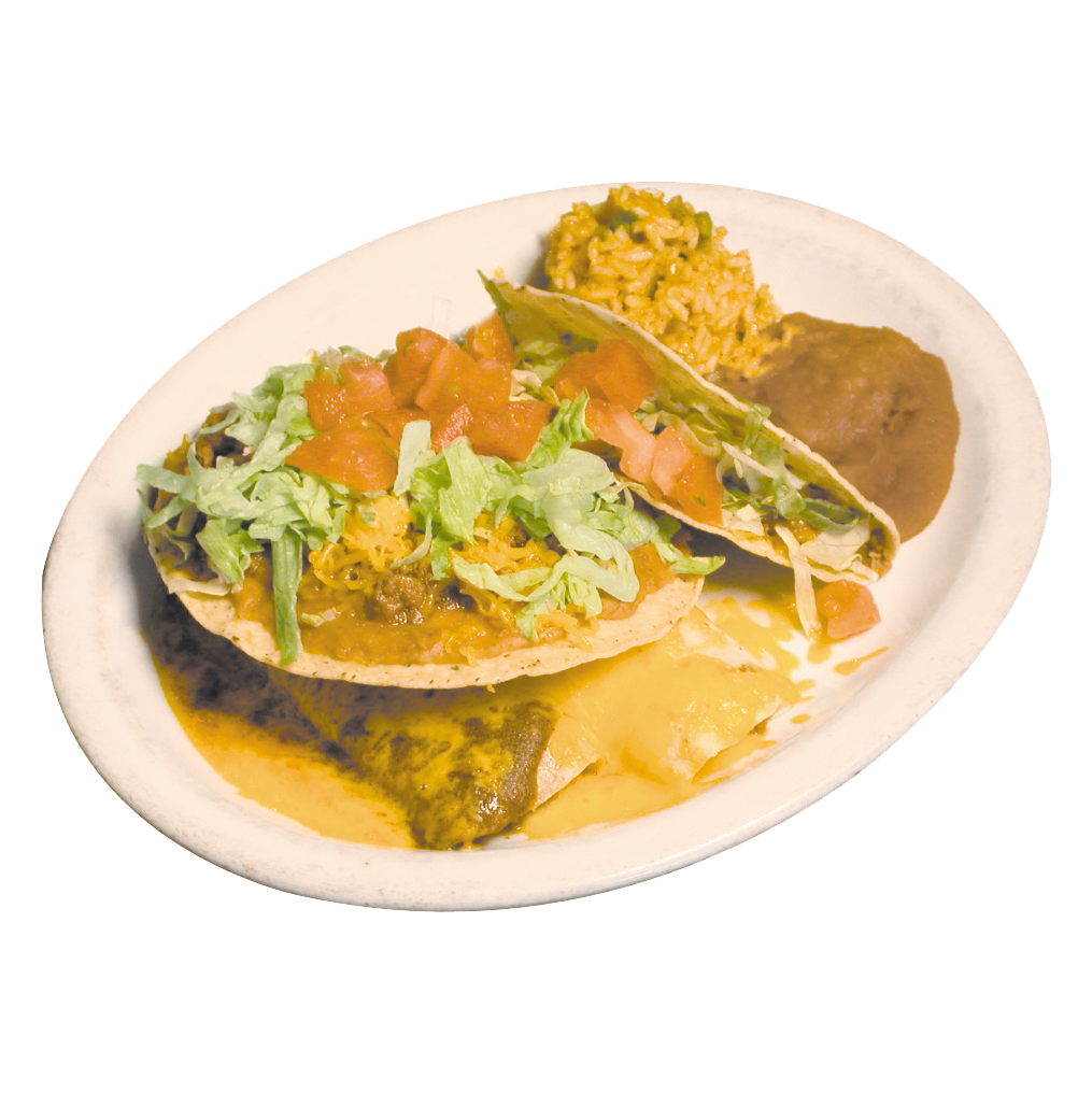 Nacho plate with a tostada, enchilada and beef taco with beans and rice