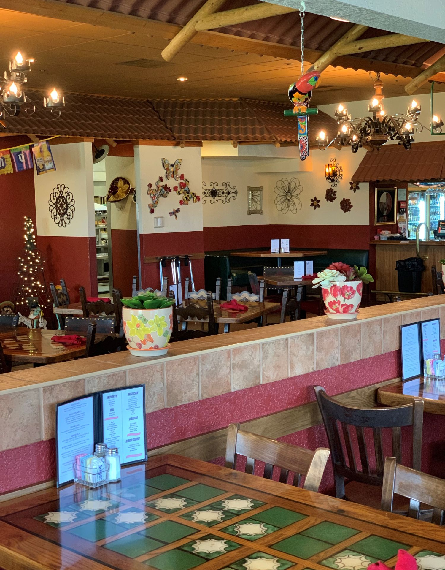 Interior dining area with Mexican-themed decorations