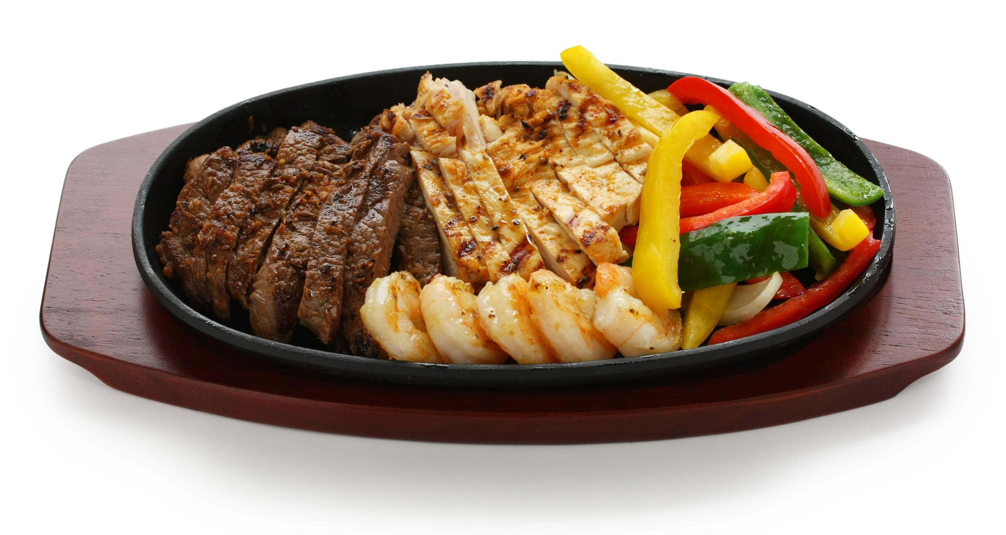 Combo fajita with steak, chicken, shrimp and vegetables