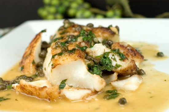 baked haddock with capers, parsley and a creamy sauce